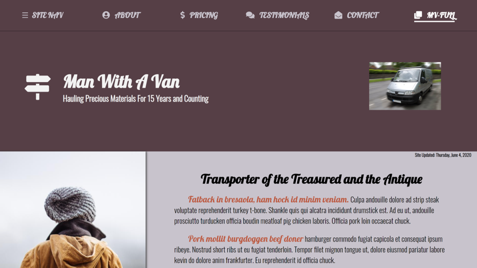 Man With A Van One Page Site